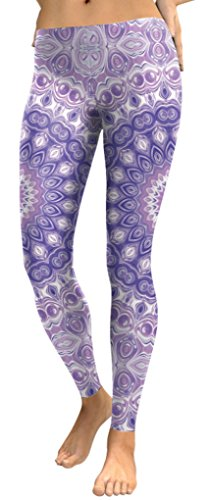 Belsen - Legging - Femme multicolore citrouille Medium Violet flowers