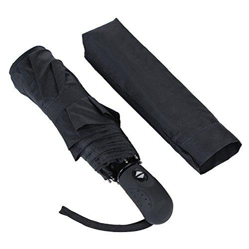 Regenschirm iLOME Taschenschirm mit Auf-Zu-Automatik Winddicht Anti-UV Kompakt & Leicht Schwarz