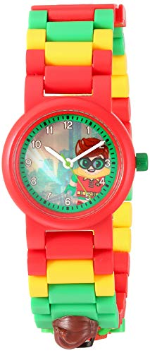 Lego Batman 8020868 Robin Kids Minifigura Link Buildable Reloj | Rojo/Verde | Plástico | 27.5mm Diámetro...
