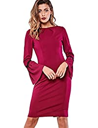 Paper Dolls Womens Midi Dress with Flute Sleeve and Flared Cuffs in Red From Brand Attic