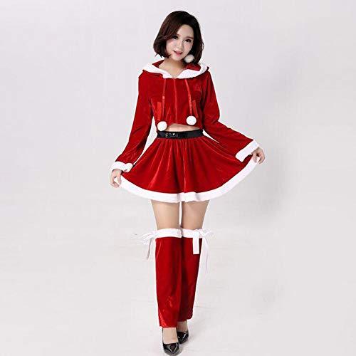 CVCCV Weihnachten Kostüme Nette Festliche Mädchen Mit Kapuze Weihnachtskleider Weihnachtskleider Erwachsene Weihnachtskleidung Fasermaterial Freie Größe (Rot) (Weihnachts Elfe Damen Kostüm)