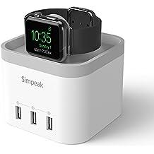 Simpeak Soporte para Apple Watch,Cargador para Apole Watch con 3 Puertos USB Base de Carga/Charge Station/Stand de Aleación para Apple Watch, iPhone, iPad y Otros Smartphones Blanco