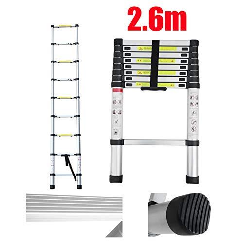 2,6m Teleskopleiter Klappleiter Stehleiter Mehrzweckleiter aus hochwertigem Aluminium Ausziehbare Leiter Sicherheitsverriegelung Anti-Rutsch 150 kg/330 Pfund Belastbarkeit