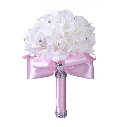 Koly_rose di cristallo damigella d'onore che wedding flowers seta artificiale (rosa)