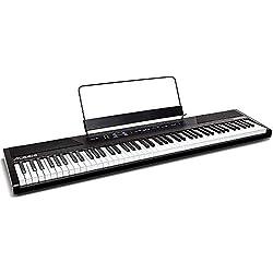 Alesis Recital - Piano Numérique / Clavier de 88 Touches Semi-Lestées de Taille Authentique, avec Adaptateur Secteur, Enceintes Intégrées et 5 Voix Prémium, pour Débutant