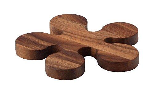 Continenta Topf- und Pfannen-Untersetzer aus Akazienholz in Klecks-Optik und Edel Qualität, Holz Topfunterlage, Größe: Ø 13 x 1,2 cm