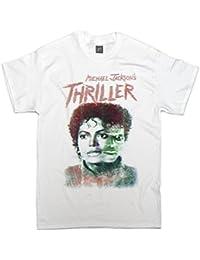 Studio315 - T Shirt Motif Michael Jackson Thriller Style Rétro Horreur - Blanc, M
