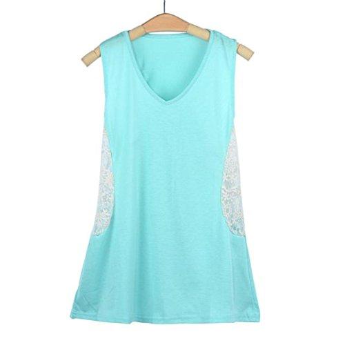 Chemise Femme,Manadlian Tuniques Femmes Débardeurs Dentelle Gilet T Shirt Blouse Été Bleu