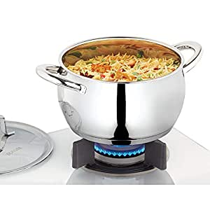 Borosil - CFHC16SS11 Stainless Steel Handi Casserole with Lid, Impact Bonded Tri-Ply Bottom, 2.2 L, Silver