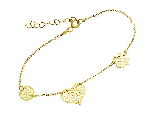 Goldarmband Damen Gold Armband Armkette mit Anhanger Herz Ring Klee 585 14KT
