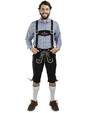 Herren Lederhose Wildalpen Schwarz - Kniebundhose inkl. Hosenträger - Trachtenlederhosen