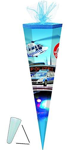 alles-meine.de GmbH Schultüte -  Polizei Auto / Hubschrauber  - 70 cm - rund - Tüllabschluß - Zuckertüte - mit / ohne Kunststoff Spitze - für Jungen / Polizist - Polizeifahrzeu..