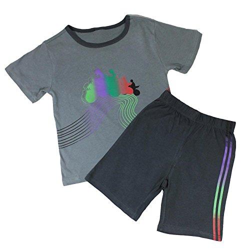 Marken Kinder Schlafanzug 2-teilig 104 110-116 122-128 Kinder Pyjama Shorty 100% Baumwolle (Motorrad-kinder-pyjama)