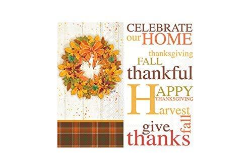 erbst-Thanksgiving-Thema: Enthält (1) Herbstkranz 16 Count und (1) 16 Count Celebrate Our Home ()