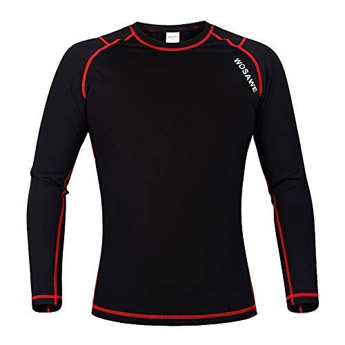 WOSAWE woasawe Herren Thermo Fleece Base Layer Sport Fitness Workout Shirt Hose, Herren, BlackA Jersey, Small Base-layer-fleece