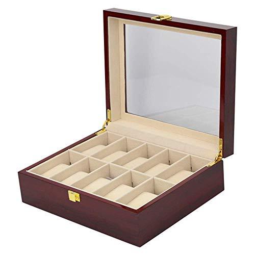 Uhr Schmuck Box Display Lagerung 10 Slot Holz Uhr Display Box Fall Glas Top Schmuck Aufbewahrungsbox Veranstalter Holz Armband Box Fall Fach