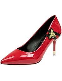 DIMAOL Zapatos de Mujer PU Primavera Otoño Comodidad Tacones Stiletto Talón Exterior Negro Rojo
