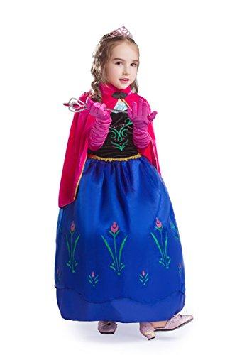 (ELSA & ANNA® Mädchen Prinzessin Kleid Paket Verrücktes Kleid Set Partei Kostüm Set - Paket Beinhaltet Kleid Handschuhe Krone Zauberstab - DE-SETA2 (SETA2, 6-7 Jahre))
