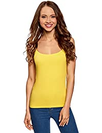 oodji Ultra Mujer Camiseta de Punto con Tirantes Finos Sin Etiqueta