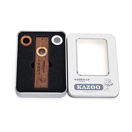 Wooden Kazoos with Metal Box Accompaniment Flute Exquisite Musical Instruments Ukulele Guitar Partner Wood Harmonica 1Set