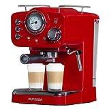 Oursson Kaffeemaschine, 15 Bar Espressomaschine, Espresso-Siebträgermaschine, Milchaufschäumer für Cappuccino und Latte, 1.5L Tank, Rot EM1500/RD