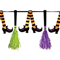 10ft Hanging Witch Banner Garland Room Table Chair Decoration Shiny Metallic Witches Legs and Broom Sticks Halloween Party Bunting