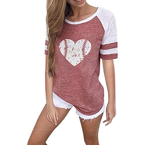 T-Shirts für Frauen Teen Mädchen Kurzarm Rundhals Bluse Sommer Lässig Gestreifte Grafik Top -