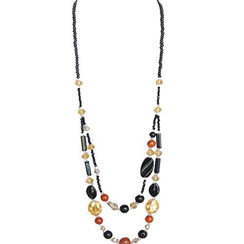 Schmuck Handarbeit Schwarz Kristall Bead 2Layered Lange Halskette (Großhandel Kostüm Schmuck)