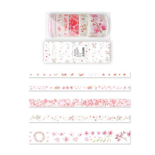 AOLVO Narrow Washi Tape, 9 Rotoli di washi Tape, 3/10/15/30 mm Slim Patterned Washi Tape per Bambine, Arti e Mestieri, Scrapbooking, Fai da Te, pacchi Regalo, Party Supplies Sakura