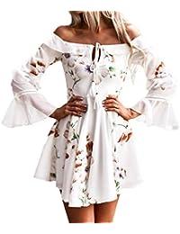 Faldas Cortas Mujer Verano, Zolimx Vestidos Playa Mujer Larga Tamiz Fuera del Hombro Bohemio Vestido Maxi Fiesta…