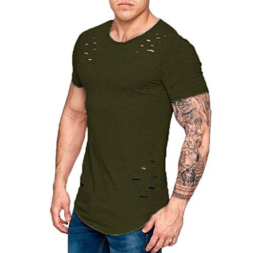 (BHYDRY Beiläufiges gebrochenes Loch-Kurzschluss-T-Shirt der Spitzen-Bluse der Art- und Weisemänner(Large,Kaffee)