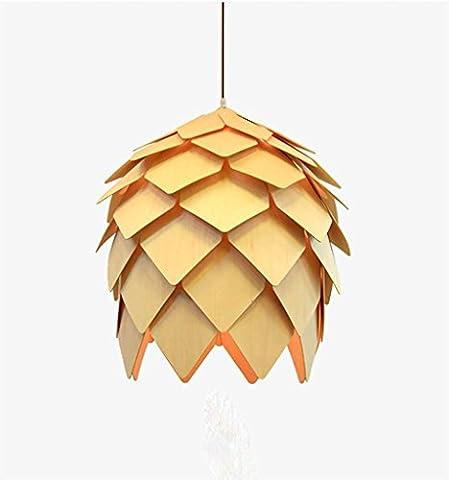 DZW Pendentif Pine Pine Fruit Echinacea E27 Oaks Lampes Monochromiques Chandelier Fenêtre Restaurant Beige Intérieur Éclairage Hauteur Ajustable (60CM) [Energy Saving A +++] , 50cm