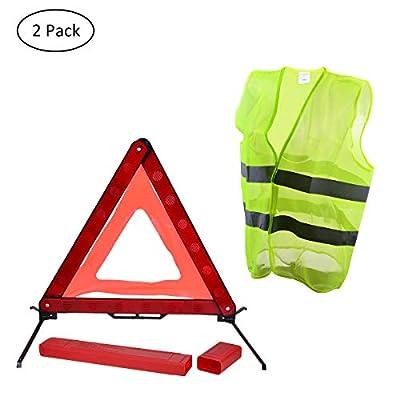 YoungRich Warnweste Set 1x Reflexions Notfalldreieck Warndreieck mit Einem Roten PVC Kasten und 1x Verkehrs Reflektierende Warnwesten Sicherheitsweste Reflektorweste für Gebäude Radfahren Fahren