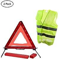 YoungRich Kit de Seguridad de Coche 1x Triángulo Reflectante Placa Triángulo de Emergencia con una Caja de PVC Roja y 1x Chaleco de Seguridad Chaleco Reflectante Fluorescente para la Conducción en Bicicleta