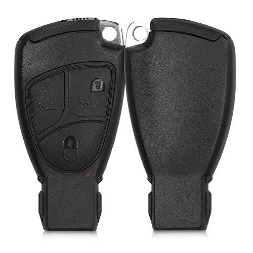 kwmobile Gehäuse für Mercedes Benz Autoschlüssel - ohne Transponder Batterien Elektronik - Auto Schlüsselgehäuse für Mercedes Benz 2-3-Tasten Autoschlüssel - Schwarz