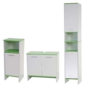 mendler badezimmer set arezzo waschbeckenunterschrank hochschrank kommode wei b den gr n. Black Bedroom Furniture Sets. Home Design Ideas