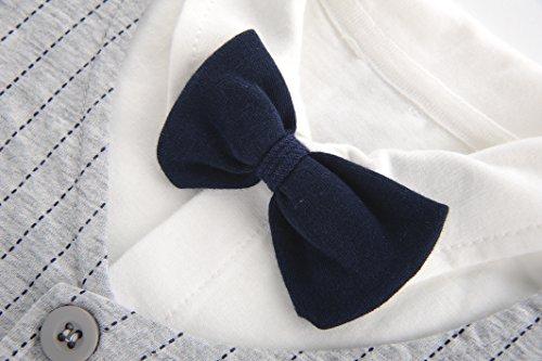 Fairy Baby Baby Outfits Jungen Smoking Anzug Kurze Abendkleider Festliche babymode Kleidung mit Fliege Strampler, Grauer Streifen, 12-18 Monate - 3