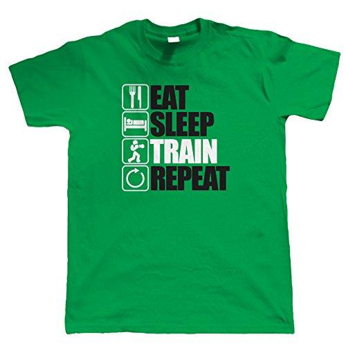 Vectorbomb, Eat Sleep Zug Wiederholung T Shirt (S zu 5XL) Grün