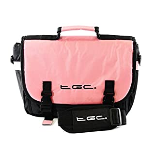 New TGC ® Messenger Style TGC Padded Carry Case Bag for The Audiovox PVS6360 Kids 6.2-inch Portable DVD Player (Baby Pink & Black)