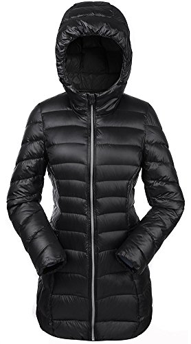 Valuker Damen Daunenmantel 90% Daunen Mantel Mit Kapuze Parka Winter Jacke Lang Ultra leicht NVCDM33(Gr 36 / M Schwarz)