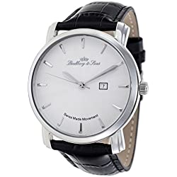 Lindberg & Sons - LS15S-A1 - wrist watch for men - quartz movement analog display - Swiss made - white dial - black leather bracelet