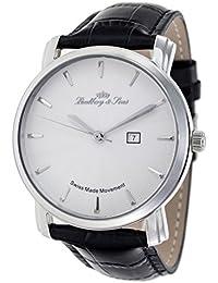 Lindberg & Sons LS15SA1 - Reloj pulsera analógico de cuarzo, para hombre,  calibre Suizo, correa de cuero, color negro