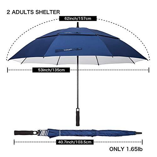 """YAPASPT 62""""Paraguas de Golf Extra Grande Protección UV A Prueba de Viento Parasol Doble con ventilación y con Dosel Abierto, Azul Marino (Navy Blue)"""