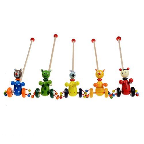 Demiawaking Baby Cartoon Baby Coagent Kleinkind Kinder Putting Tiere Holz Puzzle Trolley Spielzeug