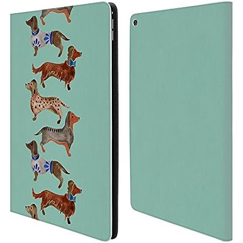 Ufficiale Cat Coquillette Bassotti blu Animali Cover a portafoglio in pelle per Apple iPad Pro 12.9