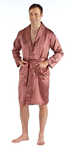 Harvey James Robe de Chambre Kimono en Satin Léger Homme (L) Rouge