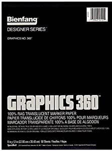 Bienfang Graphics 360 100% Rag Translucent Marker Paper (9 In. x 12 In.) - Pad of 50