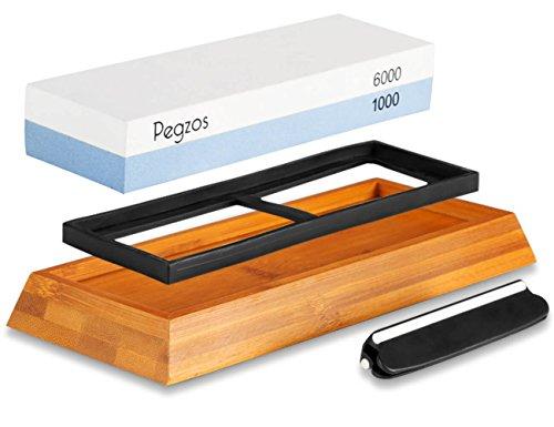 Abziehstein Schleifstein Set PEGZOS Wetzstein - Wasser Stein mit 1000/6000 Körnung für Messer, mit Messer schärfen und Gummi-Steinhalter sowie Bambus Basis und Messer-Halter (Wetzstein, 1000/6000)