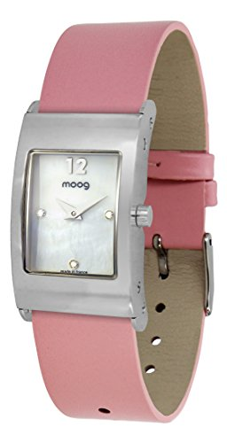 Moog Paris Dome Women's Watch with White Mother of Pearl Dial, Pink Genuine Leather Strap & Swarovski Elements - M41661-402