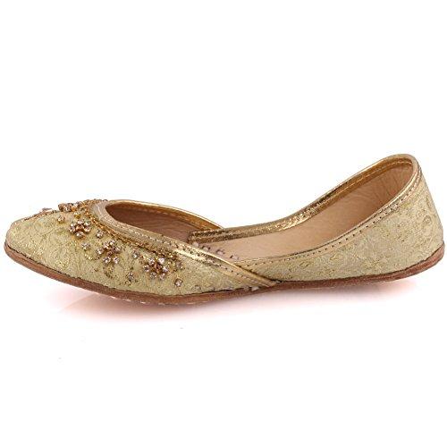Unze Neue Mädchen Traditionelle 'Garland' Handgefertigte Leder Flache Khussa Pumpe Hausschuhe Kinder Schuh - LS-605 K Gold